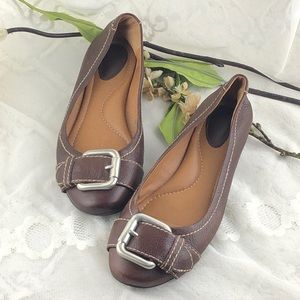 Fossil Maddox Brown Leather Flats